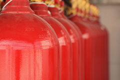 CO2 fire extinguishers in a petrochemical plant. Stock Images