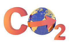 CO2 with globe, pollution concept Stock Images