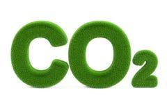 CO2 from grass inscription, 3D rendering stock illustration