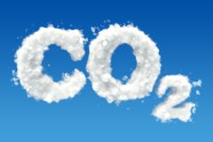 CO2 inscription from clouds in the sky. 3D rendering. CO2 inscription from clouds in the sky. 3D royalty free illustration