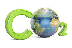 CO2 inscription with globe, pollution concept. 3D rendering Stock Images