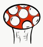 Co jest Czerwony? Pieczarka z Czerwonego koloru i bielu Round punktami ilustracja wektor