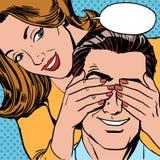 Co jest kobietą zamykającym ona oko mężczyzna niespodzianka Obraz Stock