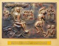 Co kopie przykopu spadki w nim Gosalaka rzuca Tejolesya - ognisty płomień palić Mahavira himself ale go burnt Zdjęcie Royalty Free