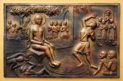 Co kopie przykopu spadki w nim Gosalaka rzuca Tejolesya - ognisty płomień palić Mahavira himself ale go burnt Obrazy Stock