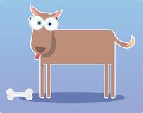 Cão marrom dos desenhos animados com olho grande Imagem de Stock Royalty Free