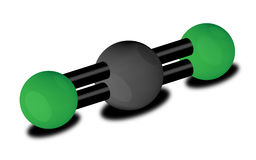 CO2 molecule. Carbon dioxide - a component of Greenhouse gases Stock Photo