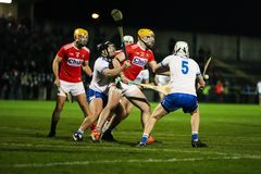 Co-Op Superstores Munster Hurling League 2019 match between Cork and Waterford at Mallow GAA Sports Complex. January 2nd, 2018, Mallow, Ireland - Co-Op royalty free stock image