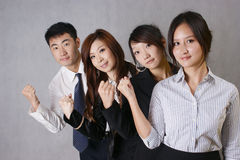 Co-operation of people. 4 fist person, firm faith Stock Photos