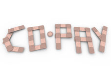 Co-Pay Word Insurance Bandages Deductible Medical Bill. Co-Pay word spelled in bandages to illustrate insurance deductible bill you have to pay after receiving Royalty Free Stock Photo