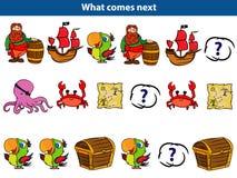 Co przychodzi następną Edukacyjną grę dla dzieci Ustawiających kreskówka pirata charaktery również zwrócić corel ilustracji wekto zdjęcia royalty free