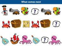 Co przychodzi następną Edukacyjną grę dla dzieci Ustawiających kreskówka pirata charaktery również zwrócić corel ilustracji wekto zdjęcie stock