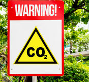 CO2 red Warning sign. In forest background Royalty Free Stock Photos