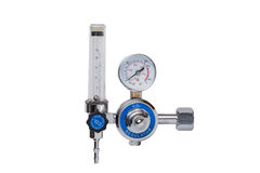 CO2 Regulator. Carbon dioxide - CO2 regulator gauge isolated on a white background Stock Images