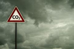 Co2 on roadsign Royalty Free Stock Image