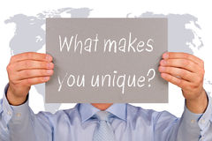 Co robi ciebie unikalny? Obrazy Stock
