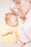 Co-sleeping mother and baby Royalty Free Stock Images
