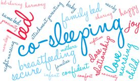 Co-Sleeping Word Cloud. On a white background Stock Photography