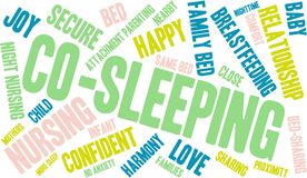 Co-Sleeping Word Cloud. On a white background Stock Images