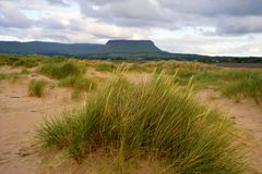 Co.Sligo. Benbulben mountain seen from Streedagh Strand in Co.Sligo, Ireland Stock Image