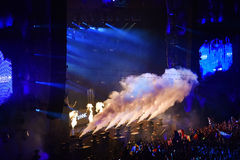 CO2 smoke cannons at a live concert Stock Photo