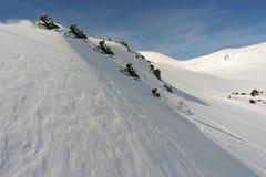 co snowmobiling Jones pass Fotografia Stock