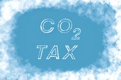 Co2 Tax on cloud background stock images