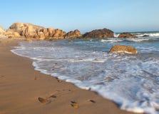 Co Thach vaggar stranden med vågen i solljusmorgonen Arkivfoto