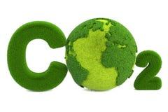 CO2 von der Grasaufschrift mit Kugel, eco Konzept Wiedergabe 3d Stockbild
