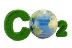 CO2 von der Grasaufschrift mit Kugel, Wiedergabe 3D Stockfoto