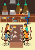 Co-werkende Ruimte Creativiteitmededeling stock illustratie