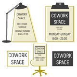 Co work space logotype. With lamp, chair stock illustration
