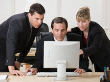 Co-workers collaborating about business. Problem royalty free stock photography