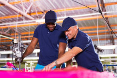 Co-workers cutting fabric Royalty Free Stock Images
