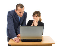 Co-workers having business problems. Isolated on a white background Royalty Free Stock Photos