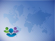 Co workers over a world map illustration Royalty Free Stock Photos