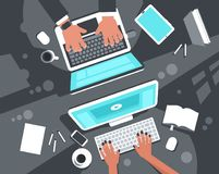 Co-working concept top view Stock Photography