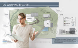 Co Working Space Architecture Plan Map Blueprint Design Concept.  Royalty Free Stock Photo