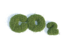 Co2. Written with grass on white background royalty free illustration