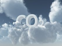 Co2. White co2 on cloudy sky - 3d illustration vector illustration