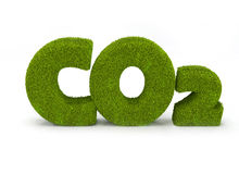 Co2. Written with grass letters isolated on white stock illustration