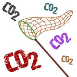 CO2. Fighting pollution catching CO2 with net conceptual image vector illustration