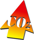 Co2 arrow 3d. CO2 arrow with a gradient from yellow to red on white background in 3d ( version Royalty Free Stock Photos