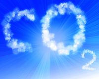 Co2 in blue sky Stock Photos