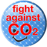 Co2_button_smiley_solar Royalty Free Stock Photography