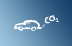 CO2 car emission cloud. Clouds forming a car with a CO2 cloud following it Stock Photos