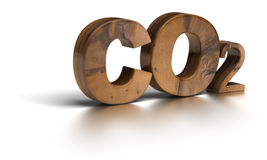 Co2 - carbon dioxide. Wooden CO2 word over white background letter are on 3d royalty free illustration