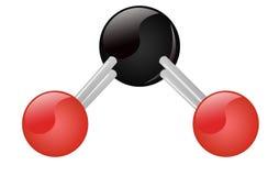 CO2 Carbon Dioxide molecule. Carbon black oxigene red vector illustration