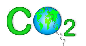 Co2 Carbon Footprint. An image showing a graphic for CO2 carbon footprint. The image shows the letter C and the number two with the illustration of the world royalty free illustration