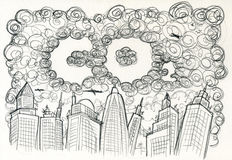 CO2 City and pollution. A grey city full of dark clouds making the word CO2. Pencil artwork stock illustration